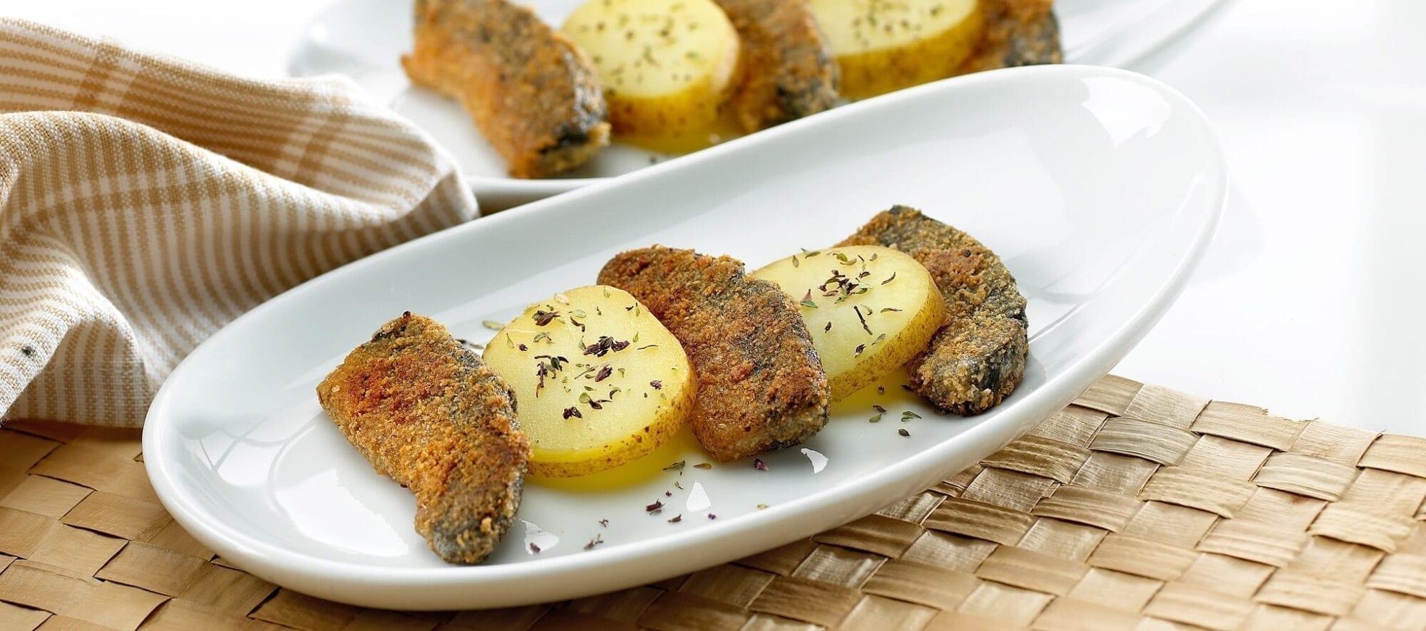 Grillet matak med koget kartofler