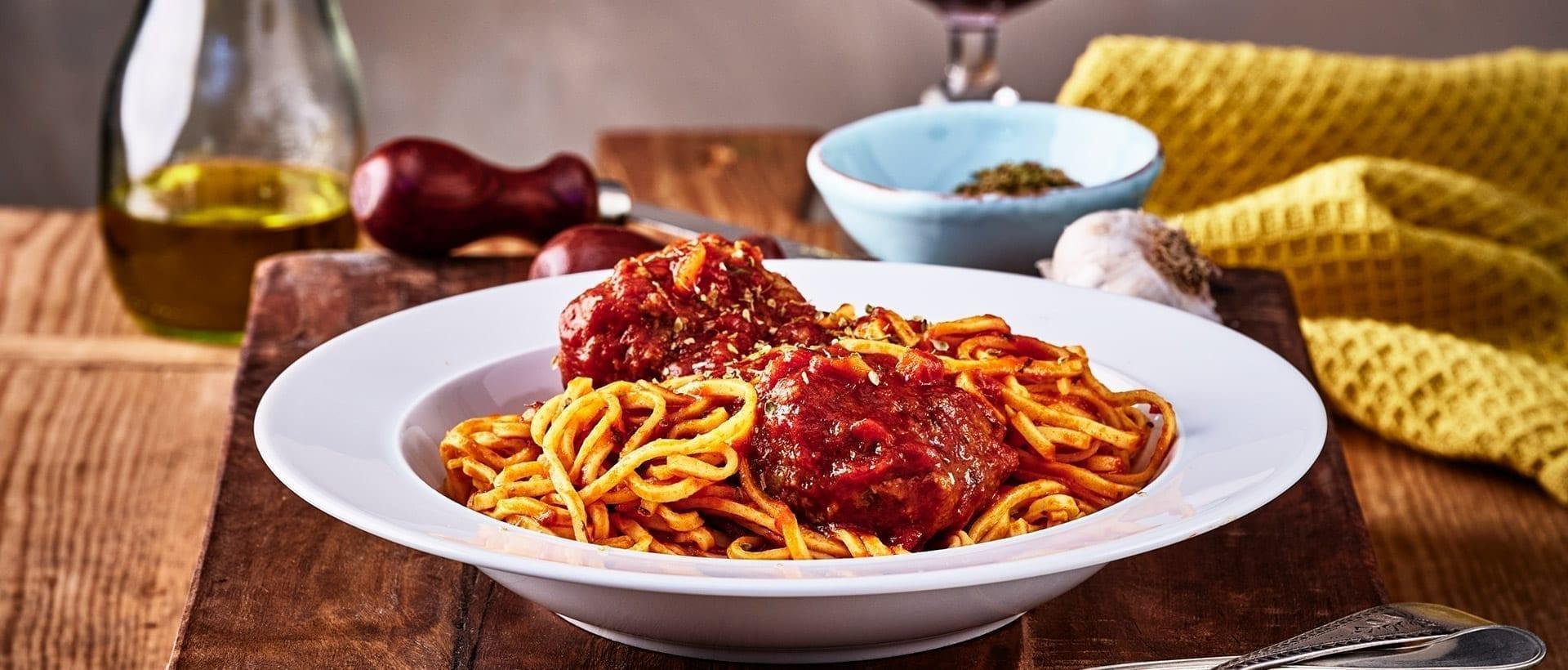 Spaghetti med rensdyrkødboller